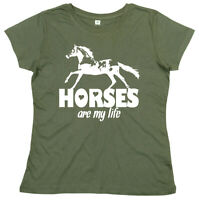 """Horse Riding T-Shirt """"Horses are My Life"""" Ladies Women's Girls Love Gift"""