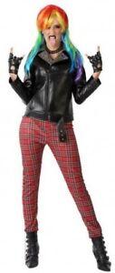 Déguisement Femme PUNK Noir Rouge XS/S 36/38 Rétro Années 80 NEUF