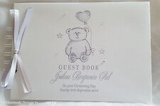 PERSONALISED BABY TEDDY BEAR *CHRISTENING* NAMING DAY* GUEST BOOK /  SCRAPBOOK