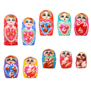 10pcs Creative Nesting Doll Russian Doll Toy Doll for Kids (Colorful)