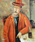 Modigliani Man Wine Glass & Bottle Master's Repro STRETCHED 20X24 Oil Painting