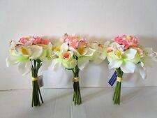 3 x Artificial Light Pink, Cream & White Flower Bundle - Wedding Flowers - 26cm