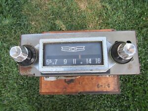 1958 Chevy In Dash Radio Bel Air Delray Biscayne Knobs UNTESTED! 1959 1960