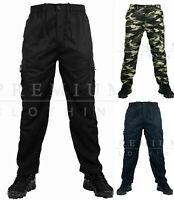 Mens Denim Combat Cargo Stretch Jeans Elasticated Work Wear Chino Pants MEDIUM