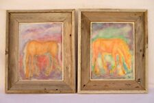 SET OF 2 ORIGINAL HORSE PAINTING ON WOOD~ARTIST SIGNED ROBIN CASPARI RUSTIC WOOD