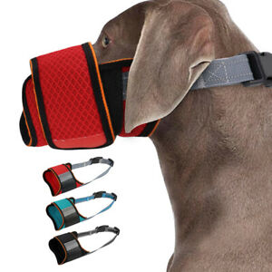 Mesh Dog Muzzle to Prevent Eating Biting Nylon Adjustable w/ Overhead Strap S-L