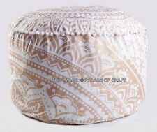 Indian Cotton Gold Ombre Mandala Pouffe Footstool Round Ottoman Pouf Cover Throw