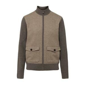 Men's Hackett, Tweed Front Full Zip Knitwear in Walnut
