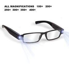 Negro LED Lectura Gafas presbicia gafas con LED Luz Potencia/Dioptría