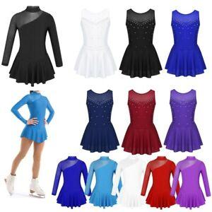 Girls Skating Dress Ice Roller Skate Ballet Gym Leotard Long Sleeve Dancewear
