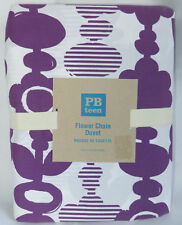 Pottery Barn Teen Flower Chain Twin Duvet Cover Purple White Cotton New