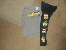 Girls Justice Holiday Gray/Black Jolly Overload Emoji Legging Outfit Size 20 NWT