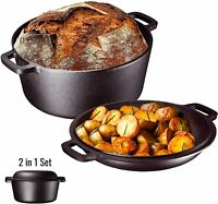 Pre Seasoned Heavy Duty Cast Iron Non Stick Double Dutch Oven & Skillet Lid 5 Qt