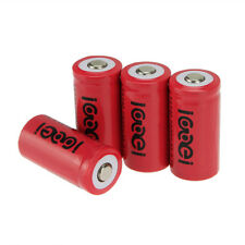 4x 3.7V CR123A 123A CR123 16340 2400mAh Red Li-ion Rechargeable Battery Cell NEW