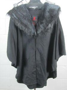 NWOT Adrienne Landau Black Faux Fur Collar Poncho M /L