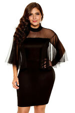 Plus Size Women Tulle Sleeves MINI DRESS Cocktail Club Wear Top 2XL - 14 16 AU