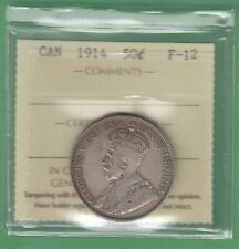 1914 Canadian 50 Cents Silver Coin - ICCS Graded F-12