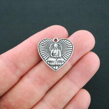 4 Buddha Heart Charms Antique Silver Tone 2 Sided - SC1715