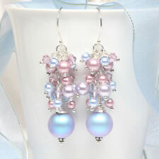 Pastel Blue and Pink Swarovski Crystal Pearl Cluster Earrings, Pearl Earrings