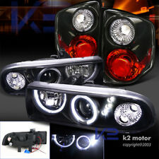 BLACK 98-04 CHEVY S10 HALO SMD PROJECTOR HEADLIGHTS+REAR TAIL LIGHTS