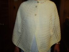 White Ladies Vintage Hand Crocheted Warm Cape Shawl Wrap - One size fits Most