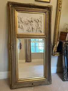 french made antique mirror with alabaster carvings
