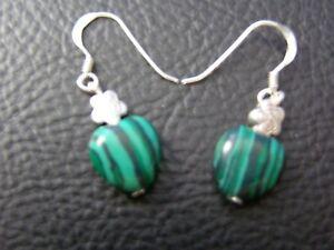 Malachite Gemstone Heart Earrings Celtic Rose Design 925 Silver Birthday Gift