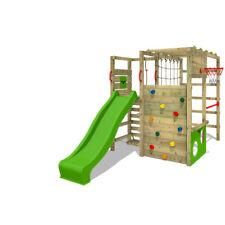 Climbing frame FATMOOSE ActionArena with apple green slide & climbing wall
