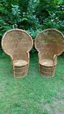 Set of 2 Vintage Morticia PEACOCK CHAIR wicker high back fan rattan mid century
