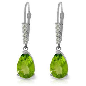 Natural Peridot Gemstones & Diamonds Dangle Leverback Earrings In 14K Solid Gold