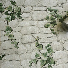 ERISMANN REALISTIC IVY TRAIL WHITE STONE WALL TEXTURED FEATURE WALLPAPER 7519-2