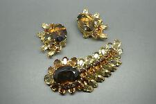 Vintage Rare Christian Dior 1958 brown crystal earrings brooch set