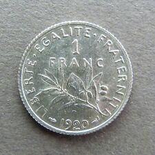 1 FRANC - SEMEUSE - 1920 - Argent - SUP