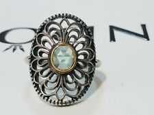 Authentic Pandora Vintage Lace Filigree Silver 14kt Green CZ Ring 190885 Size 54