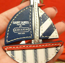 NWT RARE Coach ST JAMES Sail BOAT Key Chain Ring Purse Fob Charm  64522 Leather