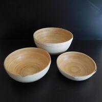 3 coupes saladier bois bambou blanc jaune art déco table cuisine fait main N4013