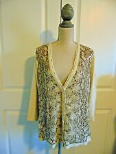 Chico's 3/4 Sleeve Shimmery Sequins Open Snake Print Front Cardigan~ size 3