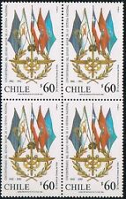 CHILE 1992 STAMP # 1571 MNH BLOCK OF FOUR MILITARY FLAGS