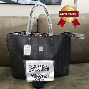 NEW Authentic MCM Large Reversible Liz Shopper tote bag Black