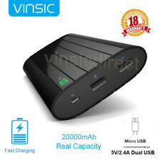 Vinsic 20000mAh Mobile Power Bank 2 USB External Portable Charger for Cell Phone