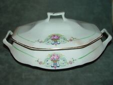 Vintage Salem China Covered Casserole Dish Flowers in Basket