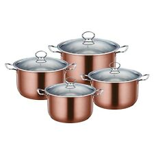 Stylish 4pc Stainless Steel Casserole Stock pot Set INDUCTION Cookware Copper