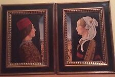Ercole De' Roberti Italian Portrait of Groom and Bride framed Giovanni & Ginevra
