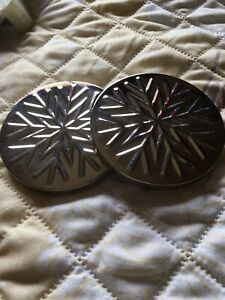 Bath & Body Works 3 Wick Candle Replacement Lids - Set of 2 - Silver Snowflake
