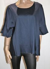 SUSSAN Brand Ink Blue Short Sleeve Blouse Top Size XL BNWT #TA54