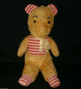 "17"" BIG VINTAGE DISNEY YELLOW WINNIE THE POOH STUFFED ANIMAL PLUSH ANTIQUE TOY"