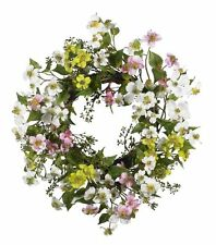 Nearly Natural 4688 Dogwood Wreath- 20-Inch- Assorted