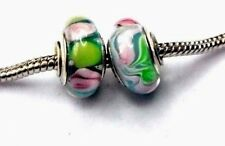 2 PC MURANO GLASS BEADS CHARMS GREEN PINK LOT .925 f/ European Bracelet +POUCH