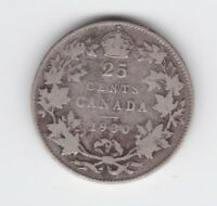 1930 Canada 25 Cents Silver Coin  P-481