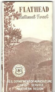 1963 FLATHEAD NATIONAL FOREST VISITOR'S MAP U.S. Forest Service, Montana
